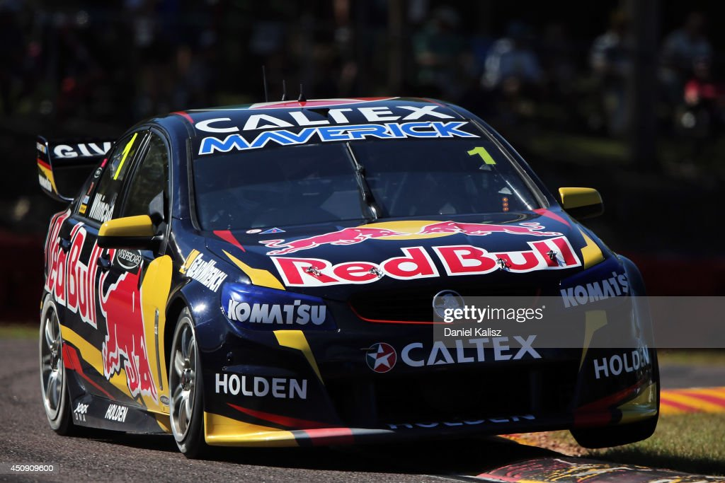 <a gi-track='captionPersonalityLinkClicked' href=/galleries/search?phrase=Jamie+Whincup&family=editorial&specificpeople=678654 ng-click='$event.stopPropagation()'>Jamie Whincup</a> drives the #1 Red Bull Racing Australia Holden during practice for the Triple Crown Darwin, which is round six of the V8 Supercar Championship Series at Hidden Valley Raceway on June 20, 2014 in Darwin, Australia.