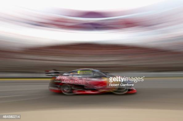 Jamie Whincup drives the Red Bull Racing Australia Holden during qualifying for the V8 Supercars Clipsal 500 at the Adelaide Street Circuit on...