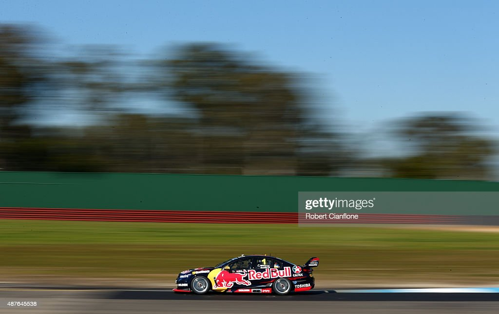 Jamie Whincup drives the Red Bull Racing Australia Holden during practice for the Sandown 500 which is part of the V8 Supercars Championship at...