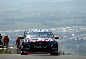 Jamie Whincup drives the Red Bull Racing Australia Holden during practice for the Bathurst 1000 which is race 25 of the V8 Supercars Championship at...