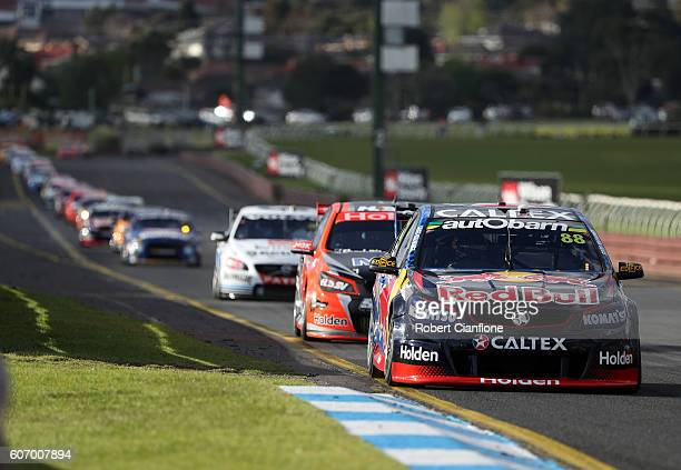 Jamie Whincup drives the Red Bull Racing Australia Holden during qualifying for the Sandown 500 at Sandown International Motor Raceway on September...