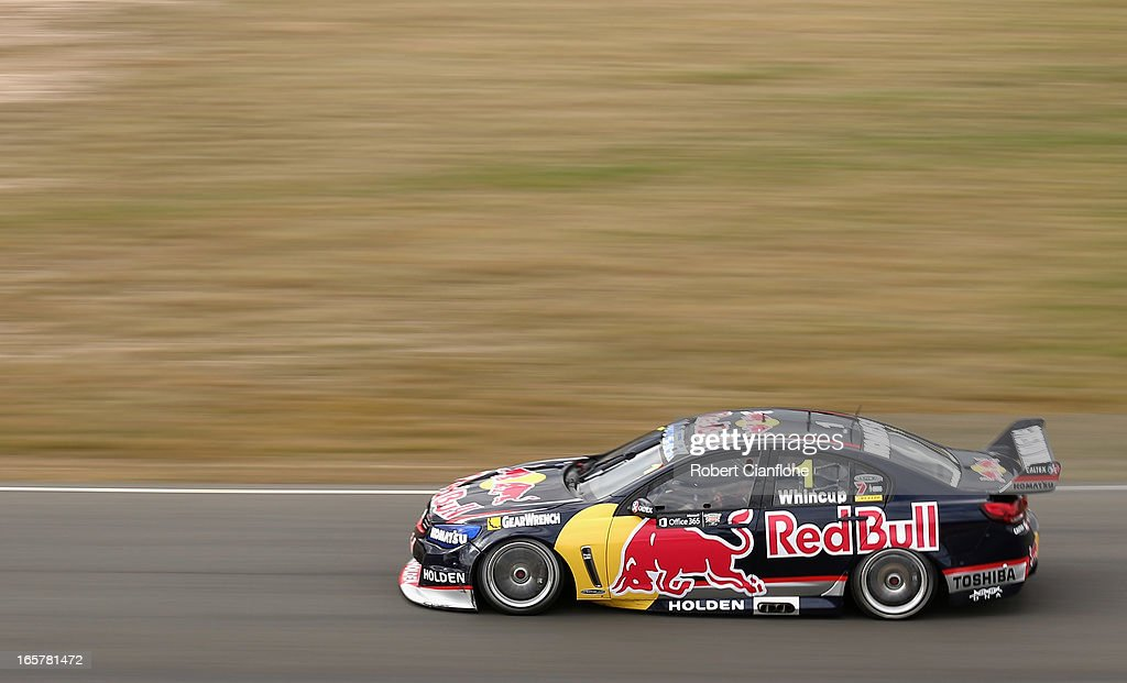 <a gi-track='captionPersonalityLinkClicked' href=/galleries/search?phrase=Jamie+Whincup&family=editorial&specificpeople=678654 ng-click='$event.stopPropagation()'>Jamie Whincup</a> drives the #1 Red Bull Racing Australia Holden during race three for round two of the V8 Supercar Championship Series at Symmons Plains Raceway on April 6, 2013 in Launceston, Australia.