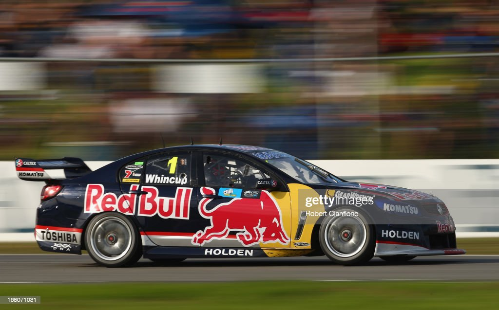 <a gi-track='captionPersonalityLinkClicked' href=/galleries/search?phrase=Jamie+Whincup&family=editorial&specificpeople=678654 ng-click='$event.stopPropagation()'>Jamie Whincup</a> drives the #1 Red Bull Racing Australia Holden during race 12 for the Perth 360, which is round four of the V8 Supercar Championship Series at Barbagallo Raceway on May 5, 2013 in Perth, Australia.