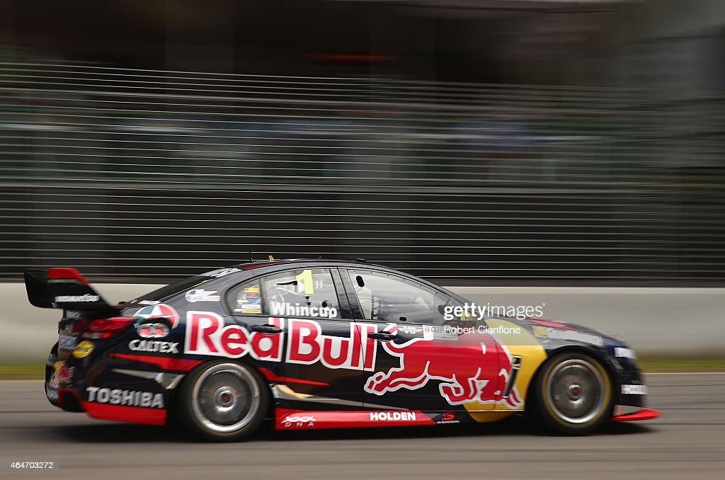 Jamie Whincup drives the Red Bull Racing Australia Holden during race one for the V8 Supercars Clipsal 500 at the Adelaide Street Circuit on February...
