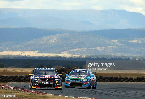 Jamie Whincup drives the Red Bull Racing Australia Holden during race five of the Tasmania 400 which is round two of the V8 Super Championship Series...