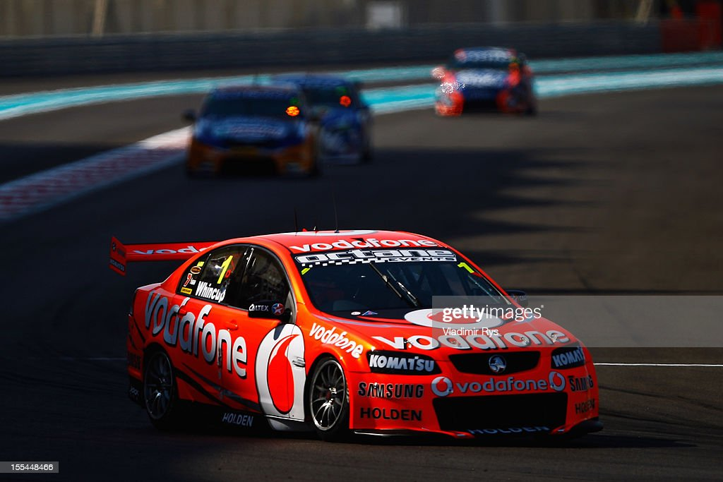 Jamie Whincup drives the Team Vodafone Holden Commodore to victory during the V8 Supercars race 3 at the Yas Marina Circuit on November 4, 2012 in Abu Dhabi, United Arab Emirates.