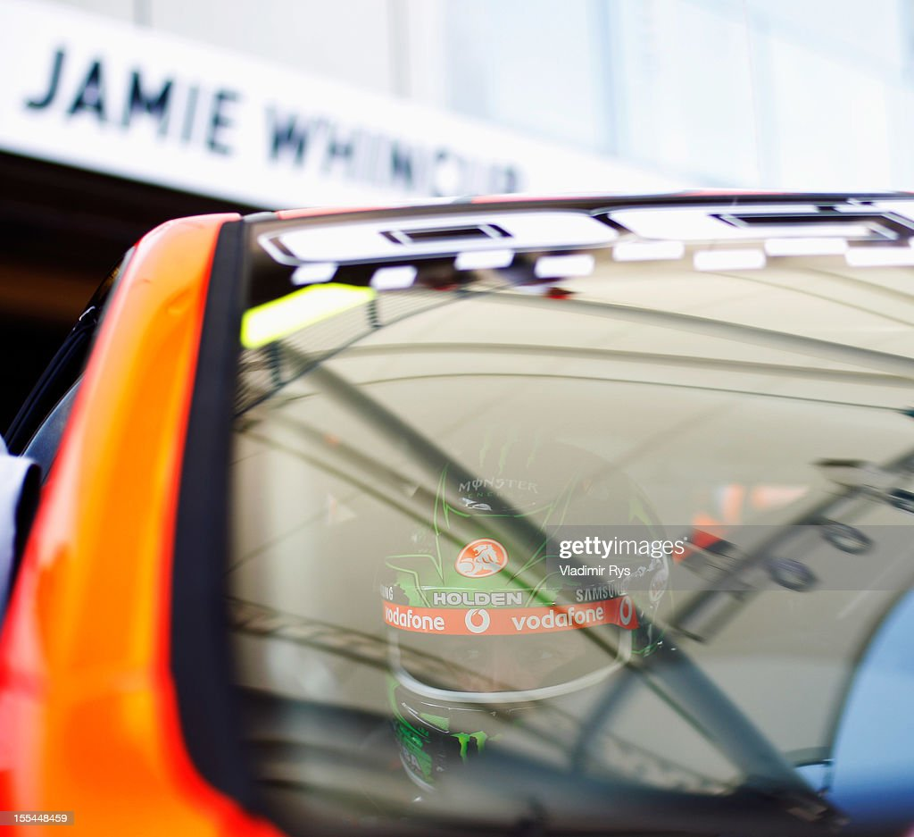 <a gi-track='captionPersonalityLinkClicked' href=/galleries/search?phrase=Jamie+Whincup&family=editorial&specificpeople=678654 ng-click='$event.stopPropagation()'>Jamie Whincup</a> of Team Vodafone Holden Commodore prepares to drive during the V8 Supercars race 3 at the Yas Marina Circuit on November 4, 2012 in Abu Dhabi, United Arab Emirates.