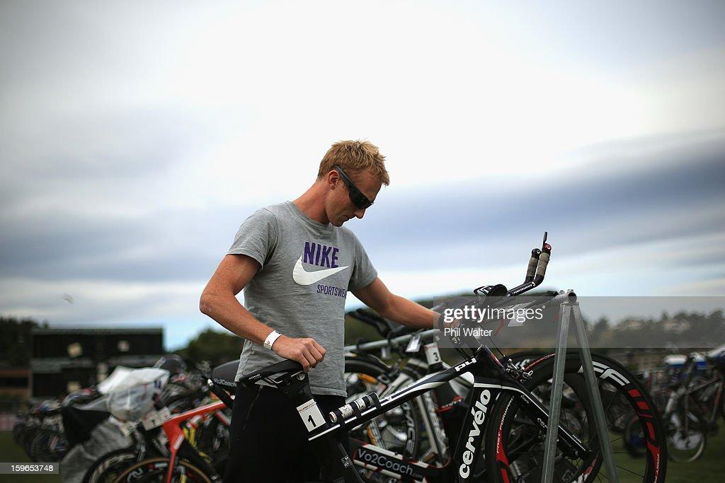 Jamie Whyte of New Zealand stacks his bike prior to the Challenge Wanaka on January 18, 2013 in Wanaka, New Zealand.