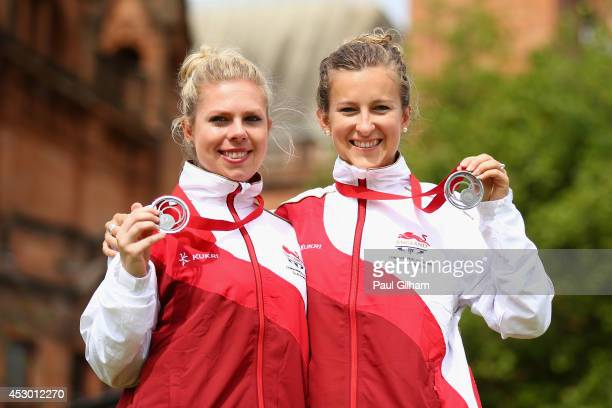 JamieLea Winch and Natalie Melmore of England celebrate with their medals after winning the Silver Medal in the Women's Pairs Final against TracyLee...