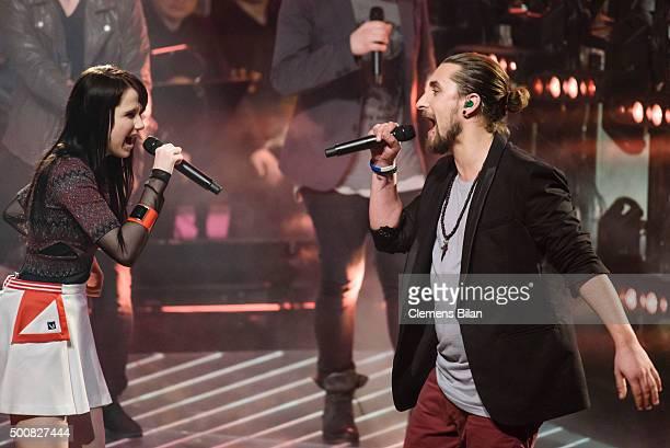 JamieLee Kriewitz and Tobias Vorwerk perform live on stage of the 'The Voice Of Germany Semi Final' on December 10 2015 in Berlin Germany