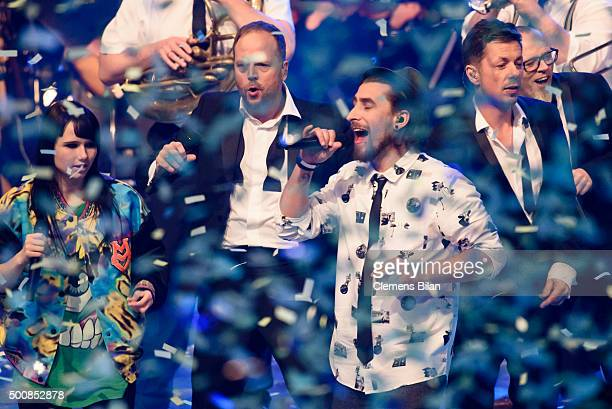 JamieLee Kriewitz Smudo Tobias Vorwerk Michi Beck and Thomas D are seen on stage during the 'The Voice Of Germany Semi Final' on December 10 2015 in...