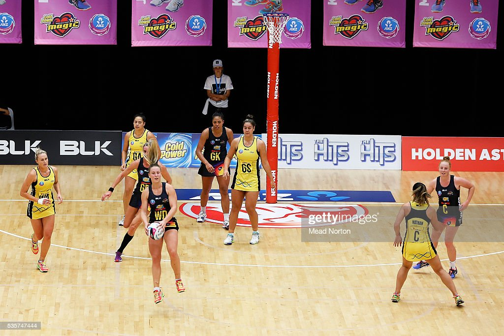 Jamie-Lee Price of the BOP Magic intercepting a Pulse pass during the round nine ANZ Championship match between the Magic and the Pulse at ASB Baypark Stadium on May 30, 2016 in Mount Maunganui, New Zealand.