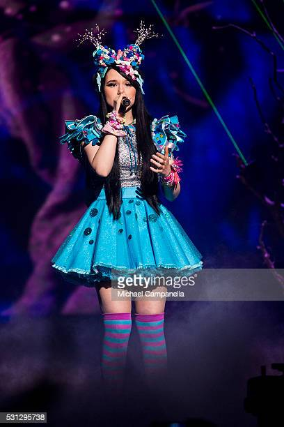 JamieLee representing Germany performs the song 'Ghost' during the final dress rehearsal of the 2016 Eurovision Song Contest at Ericsson Globe Arena...