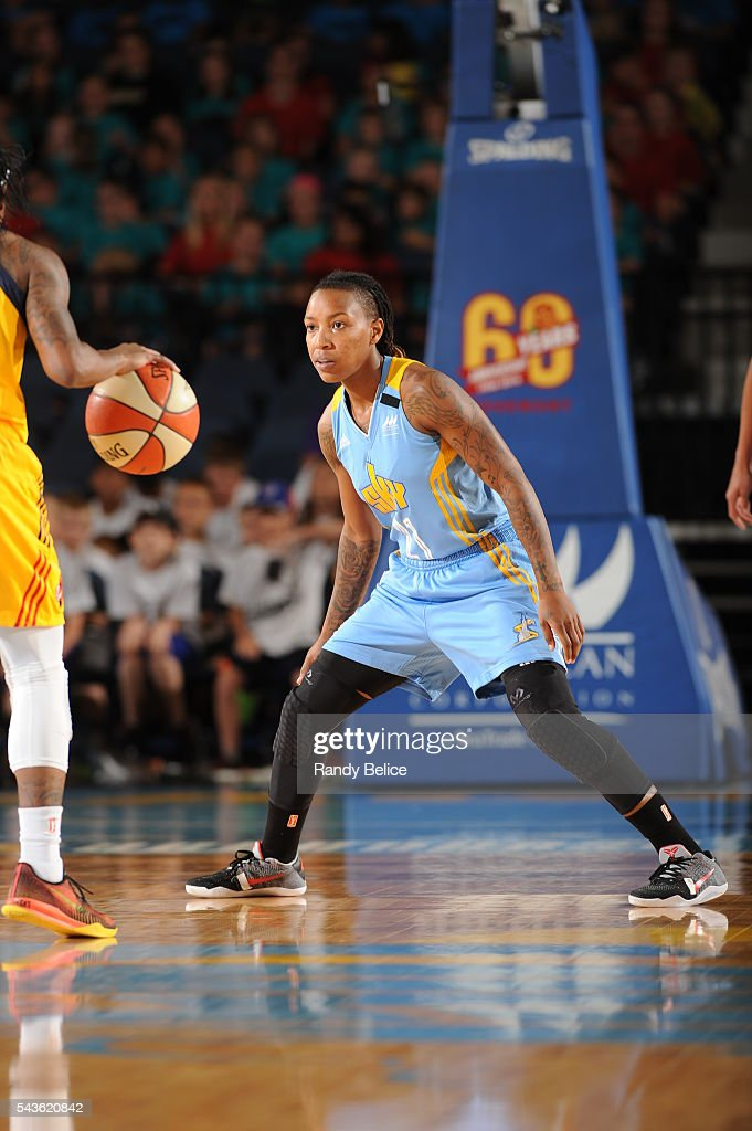 Jamierra Faulkner #21 of the Chicago Sky fights for position against the Indiana Fever on June 29, 2016 at Allstate Arena in Rosemont, IL.