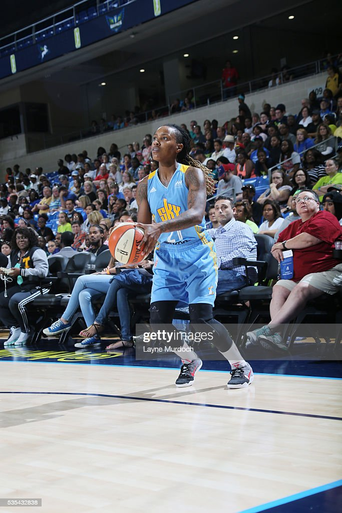 Jamierra Faulkner #21 of the Chicago Sky shoots the ball against the Dallas Wings on May 29, 2016 at College Park Center in Arlington, Texas.