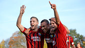 Jamil Dem of Chemnitz celebrates with team mates Marco KehlGomez and Stefano Cincotta after scoring the opening goal during the 3 Liga match between...