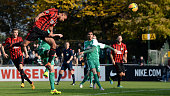 Jamil Dem of Chemnitz scores the opening goal from a header during the 3 Liga match between Werder Bremen II and Chemnitzer FC on November 1 2015 in...