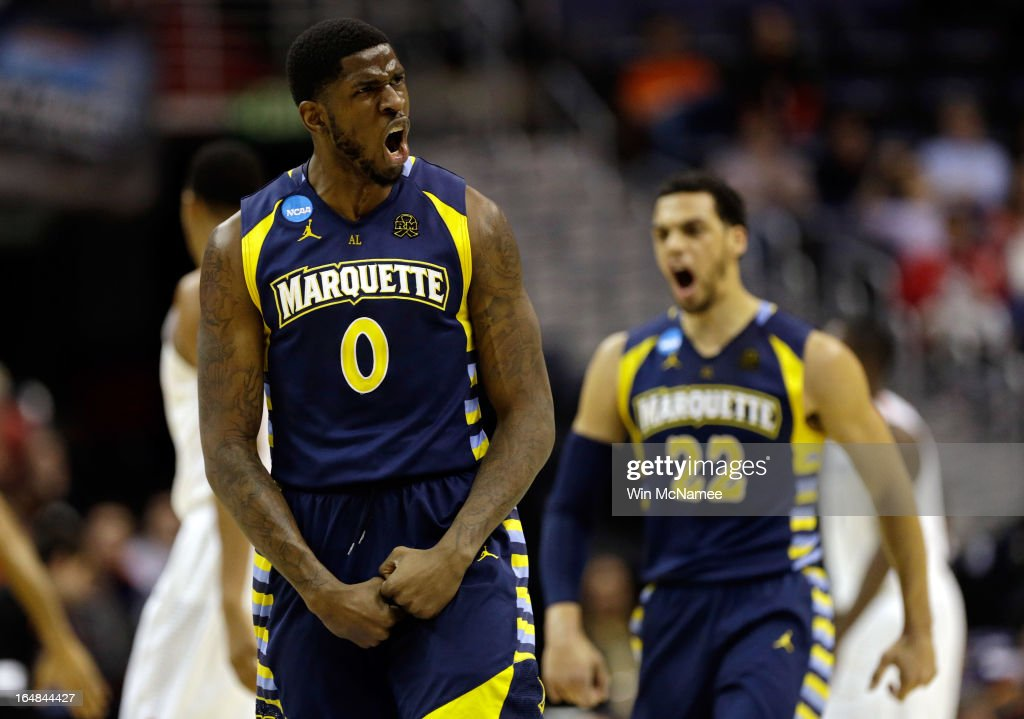 Jamil Wilson #0 and Trent Lockett #22 of the Marquette Golden Eagles react after a play against the Miami (Fl) Hurricanes during the East Regional Round of the 2013 NCAA Men's Basketball Tournament at Verizon Center on March 28, 2013 in Washington, DC.