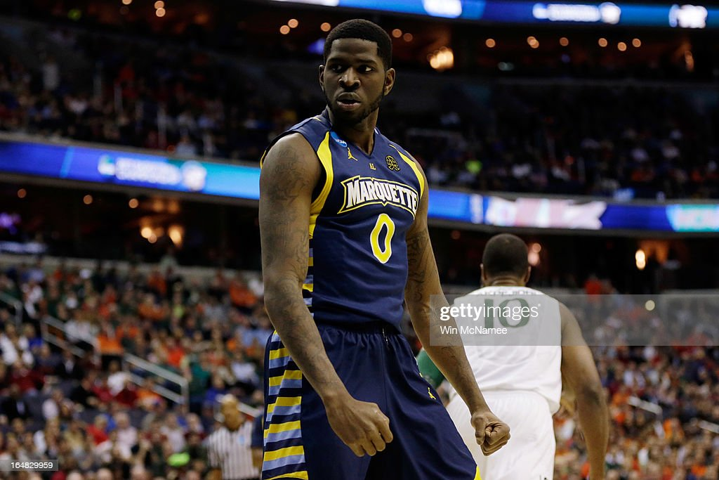 Jamil Wilson #0 of the Marquette Golden Eagles reacts after a play against the Miami (Fl) Hurricanes during the East Regional Round of the 2013 NCAA Men's Basketball Tournament at Verizon Center on March 28, 2013 in Washington, DC.