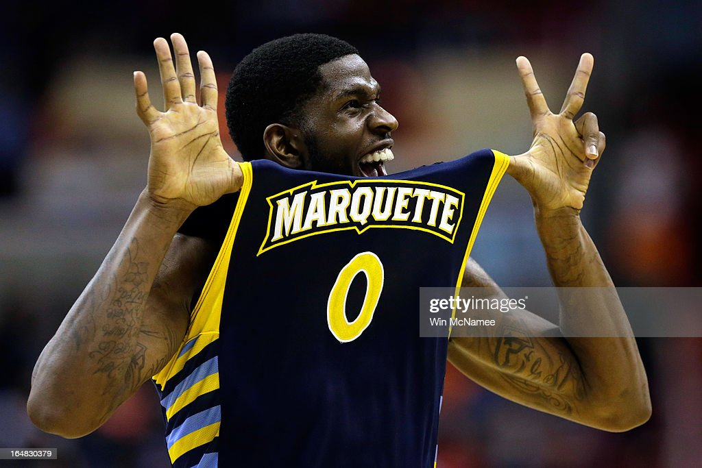 Jamil Wilson #0 of the Marquette Golden Eagles reacts after defeating the Miami (Fl) Hurricanes during the East Regional Round of the 2013 NCAA Men's Basketball Tournament at Verizon Center on March 28, 2013 in Washington, DC.