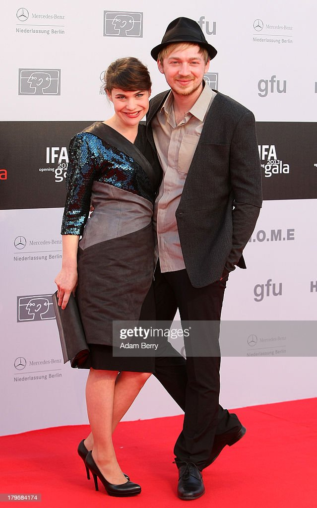 Jamila Saab (L) and Tino Mewes arrive for the IFA 2013 Consumer Technology Trade Fair Opening Gala at Messe Berlin on September 5, 2013 in Berlin, Germany.
