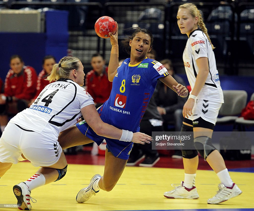 Jamina Roberts (R) of Sweden in action against Petra Vitkova (L) of Czech Republic during the Women's European Handball Championship 2012 Group I main round match between Czech Republic and Sweden at Arena Hall on December 13, 2012 in Belgrade, Serbia.