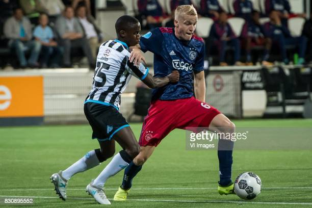 Jamiro Monteiro of Heracles Almelo Donny van de Beek of Ajax during the Dutch Eredivisie match between Heracles Almelo and Ajax Amsterdam at Polman...