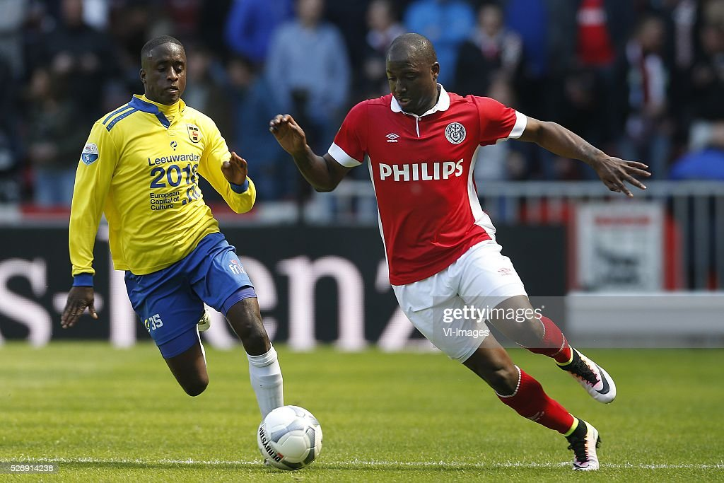 , Jamiro Monteiro of SC Cambuur, Jetro Willems of PSV during the Dutch Eredivisie match between PSV Eindhoven and SC Cambuur Leeuwarden at the Phillips stadium on May 01, 2016 in Eindhoven, The Netherlands