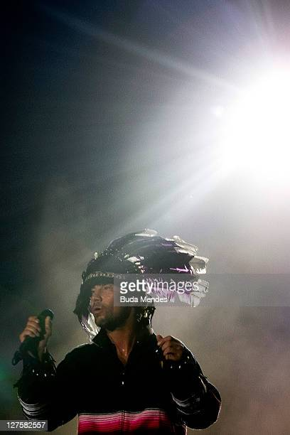 Jamiroquai performs on stage during a concert in the Rock in Rio Festival on September 29 2011 in Rio de Janeiro Brazil Rock in Rio Festival comes...