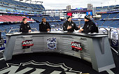 Jamison Coyle Kevin Weekes Mike Rupp and Scott Stevens of the NHL Network broadcast team cover the 2016 Bridgestone NHL Classic at Gillette Stadium...