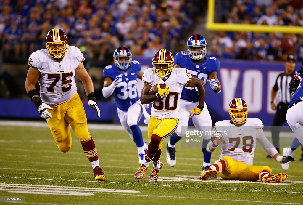 <a gi-track='captionPersonalityLinkClicked' href=/galleries/search?phrase=Jamison+Crowder&family=editorial&specificpeople=8230117 ng-click='$event.stopPropagation()'>Jamison Crowder</a> #80 of the Washington Redskins runs after a catch against the New York Giants during their game at MetLife Stadium on September 24, 2015 in East Rutherford, New Jersey.
