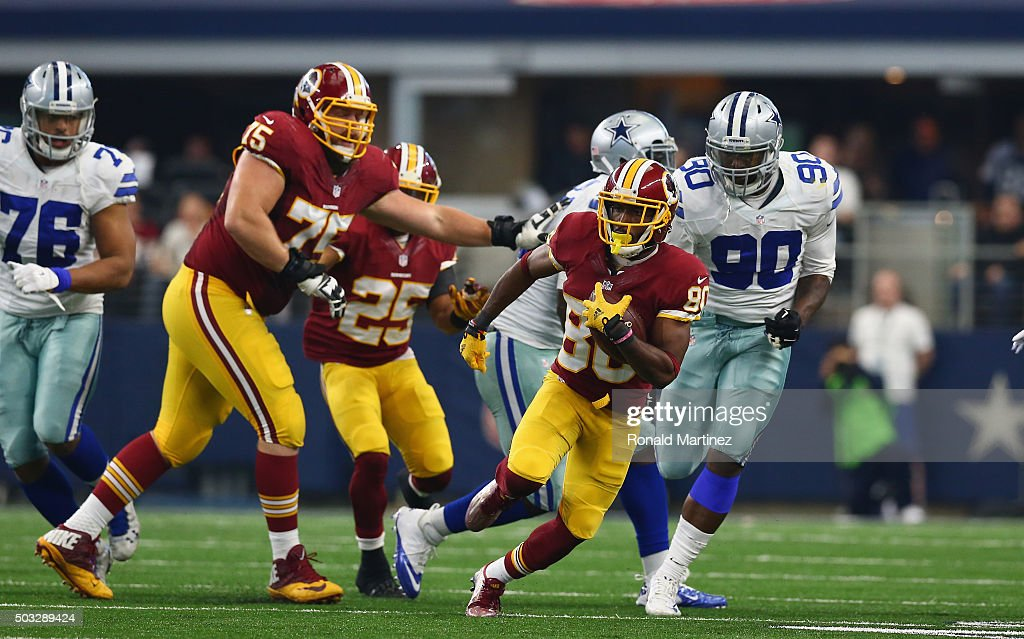 <a gi-track='captionPersonalityLinkClicked' href=/galleries/search?phrase=Jamison+Crowder&family=editorial&specificpeople=8230117 ng-click='$event.stopPropagation()'>Jamison Crowder</a> #80 of the Washington Redskins runs the ball against the Dallas Cowboys at AT&T Stadium on January 3, 2016 in Arlington, Texas.