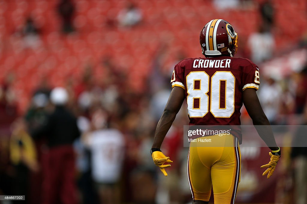 <a gi-track='captionPersonalityLinkClicked' href=/galleries/search?phrase=Jamison+Crowder&family=editorial&specificpeople=8230117 ng-click='$event.stopPropagation()'>Jamison Crowder</a> #80 of the Washington Redskins warms up prior to the start of a preseason game against the Detroit Lions at FedEx Field on August 20, 2015 in Landover, Maryland.