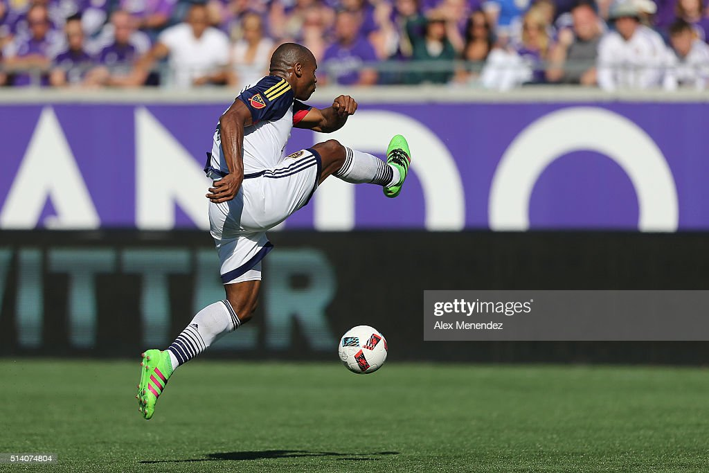 Jamison Olave #4 of Real Salt Lake leaps for a loose ball during a MLS soccer match between Real Salt Lake and the Orlando City SC at the Orlando Citrus Bowl on March 6, 2016 in Orlando, Florida. The game ended in a 2-2 draw.