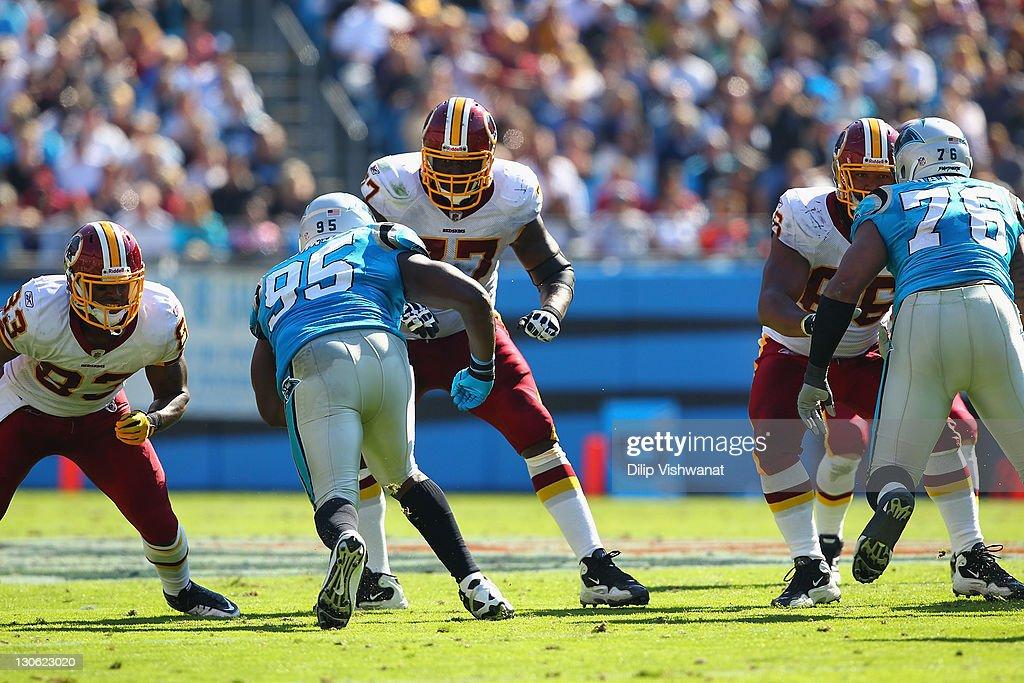 Jammal Brown #77 of the Washington Redskins blocks against the Carolina Panthers at the Bank of America Stadium on October 23, 2011 in Charlotte, North Carolina.
