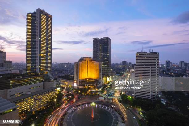 Jammed in Landmark of Jakarta City, Indonesia.