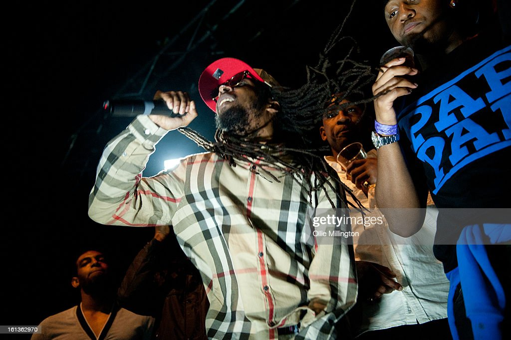 Jammer and <a gi-track='captionPersonalityLinkClicked' href=/galleries/search?phrase=Skepta&family=editorial&specificpeople=5378007 ng-click='$event.stopPropagation()'>Skepta</a> perform on stage at 'The Eskimo Dance' at 02 Academy on February 9, 2013 in Leicester, England.
