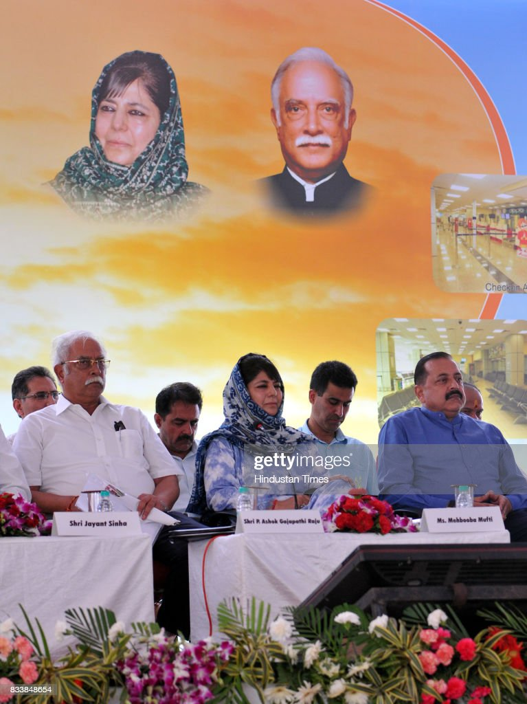 Jammu and Kashmir Chief Minister Mehbooba Mufti along with Union Minister for Civil Aviation P. Ashok Gajapathi Raju and MoS in PMO Dr. Jitendra Singh during the inauguration function of the upgraded terminal building at Jammu Airport, on August 17, 2017 in Jammu, India.