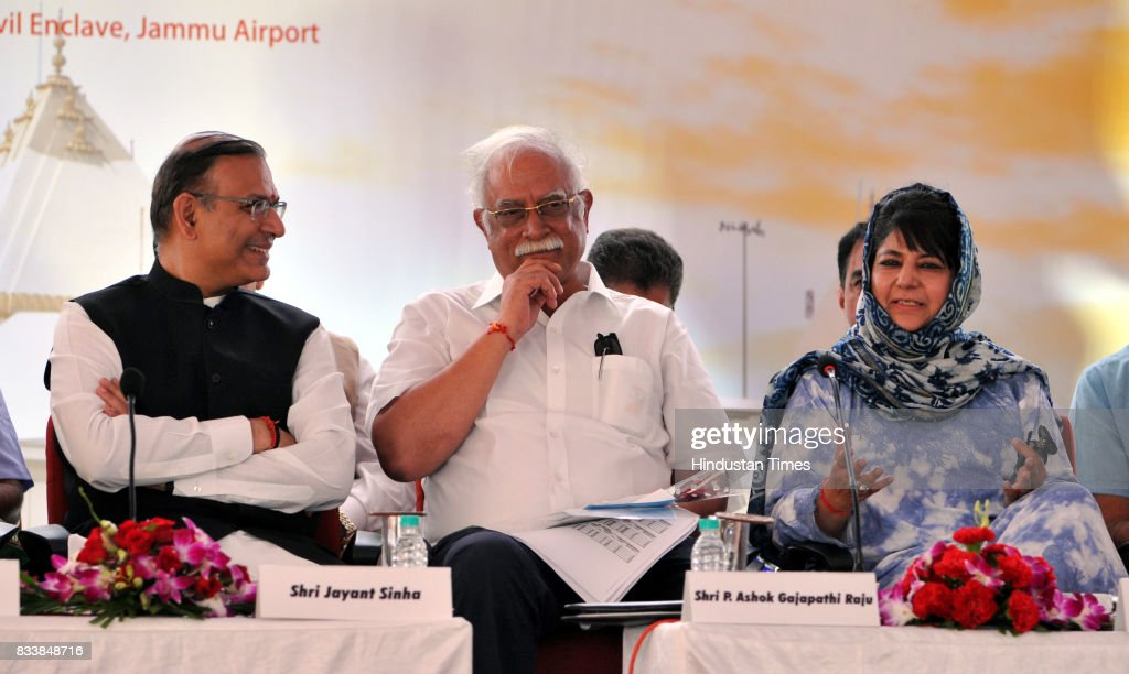 Jammu and Kashmir Chief Minister Mehbooba Mufti along with Union Minister for Civil Aviation P. Ashok Gajapathi Raju and Jayant Sinha during the inauguration function of the upgraded terminal building at Jammu Airport, on August 17, 2017 in Jammu, India.