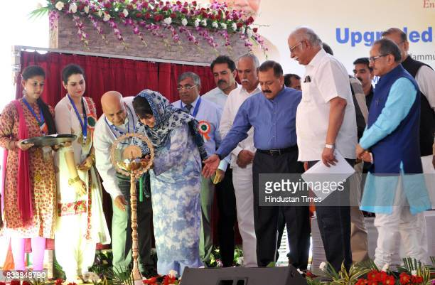 Jammu and Kashmir Chief Minister Mehbooba Mufti along with Union Minister for Civil Aviation P Ashok Gajapathi Raju and other senior BJP leaders...