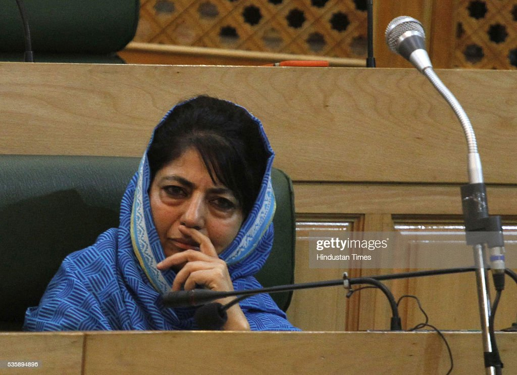 Jammu And Kashmir Chief Minister Mehbooba Mufti Sayeed during Budget session at assembly on May 30, 2016 in Srinagar, India. Jammu And Kashmir Chief Minister Mehbooba Mufti Sayeed, who is currently a Lok Sabha member from the South Kashmir Constituency, will file nomination papers for the June 19 by-poll to Anantnag Assembly constituency where by-polls were necessitated due to the death of her father and then Chief Minister Mufti Mohammad Sayeed in January 7 this year.
