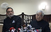 Jammu and Kashmir Chief Minister Mufty Mohammed Sayeed and senior leader of People's Democratic Party Haseeb Drabu address a press conference after a...