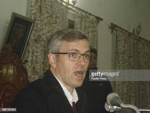 Jammu and Kashmir Chief Minister Omar Abdullah during a press conference in which he gives a possibility of an alliance between the ruling National...