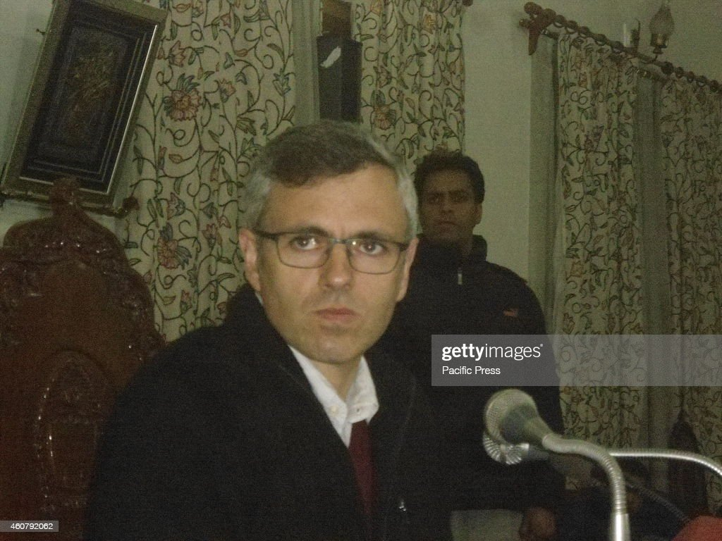 Jammu and Kashmir Chief Minister Omar Abdullah during a press conference in which he gives a possibility of an alliance between the ruling National Conference (NC) in the state and the Bharatiya Janata Party (BJP) before the Assembly poll results.