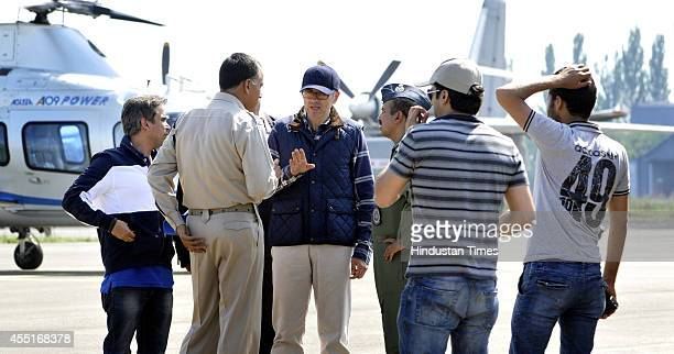 Jammu and Kashmir Chief Minister Omar Abdullah having discussion with officers regarding ongoing rescue and relief operation at the airport on...