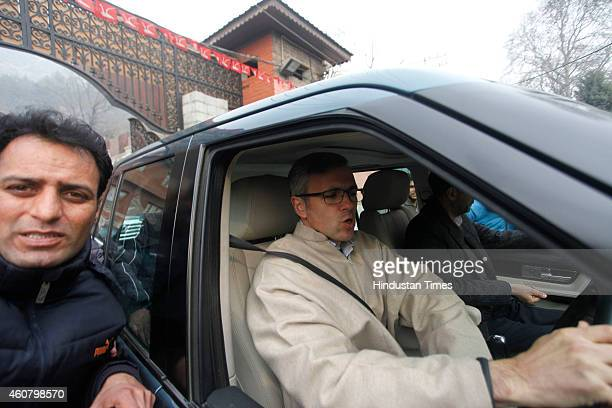 Jammu and Kashmir Chief Minister Omar Abdullah leaves for Beerwah the constituency he just about managed to win on December 23 2014 in Srinagar India...