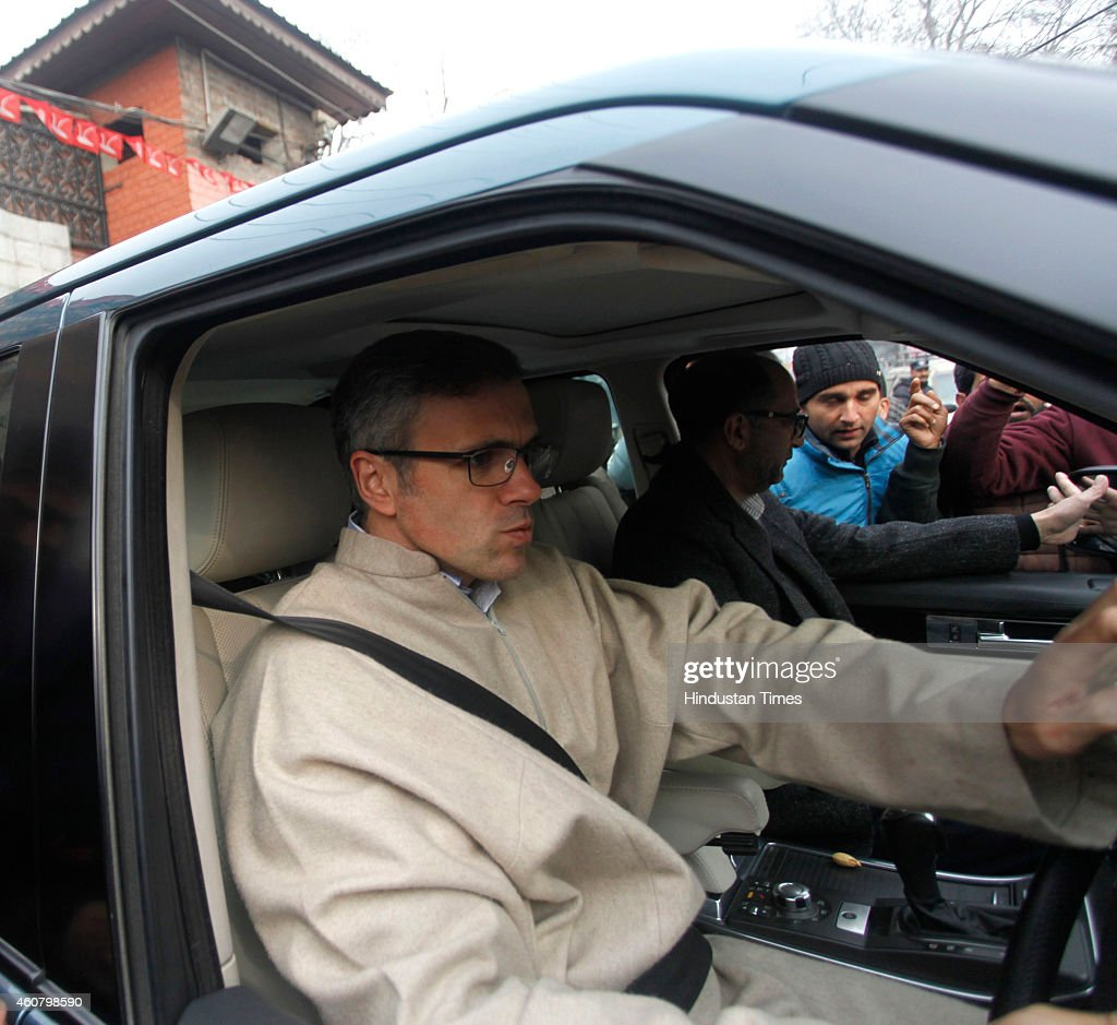 Jammu and Kashmir Chief Minister Omar Abdullah leaves for Beerwah, the constituency he just about managed to win on December 23, 2014 in Srinagar, India. Omar won Beerwah while loosing another constituency Sonwar. Jammu and Kashmir was heading for a hung Assembly with PDP emerging as the single largest party by bagging 14 seats and leading in 16 while BJP also made gains by winning 18 seats and was ahead on 7, all in Jammu, but it failed to make inroads in the Valley.