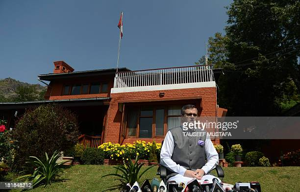 Jammu and Kashmir Chief Minister Omar Abdullah speaks during a press confrence in Srinagar on September 26 following a militant attack in the...