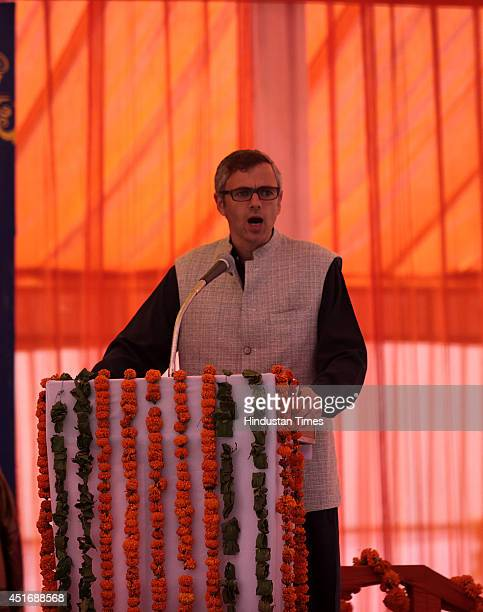 Jammu and Kashmir Chief Minister Omar Abdullah speaks during the inauguration ceremony at Katra railway station on July 4 2014 in Katra about 45 kms...