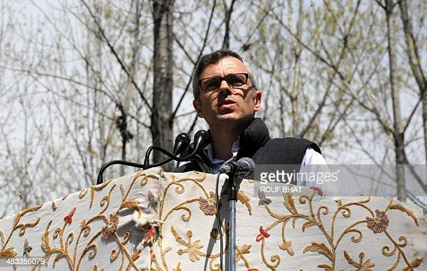 Jammu and Kashmir chief minister Omar Abdullah whose father Farooq Abdullah is contesting Srinagar's seat for the lower house of parliament in...